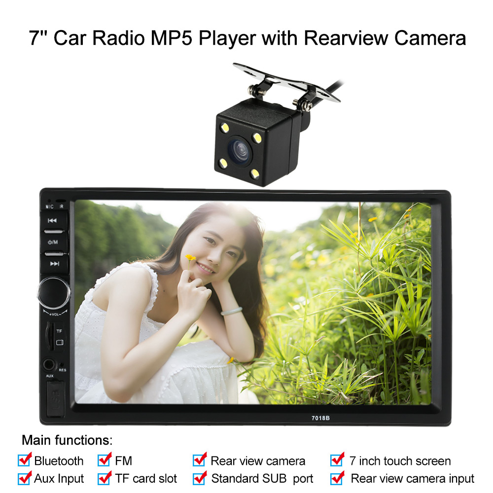 7 Inch 2 Din Car Rear View Camera HD Car Radio MP5 Player Bluetooth USB SD