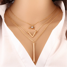 Timlee N040 Free shipping Bohemia Multi layers Chains Triangle Chokers Necklaces Wholesale