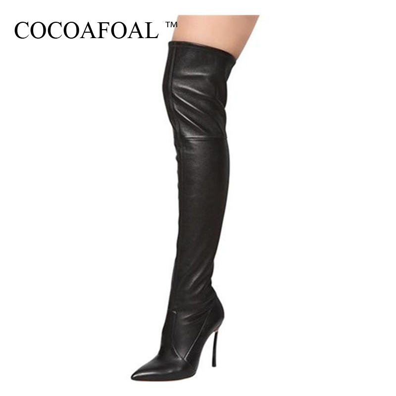 COCOAFOAL Women's Sexy Over The Knee Boots Winter Woman High Heel Shoes Plus Size 33 43 Black Red Fashion Thigh High Boots 2018 цена