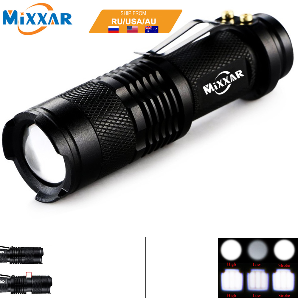ZK92 Q5 Mini Black 3000LM Waterproof LED Flashlight 3 Modes Zoomable Torch Penlight Lantern For Camping Hiking NO Battery cree 1000 lumen 7w waterproof led flashlight 3 modes zoomable led torch penlight biking camping lighting free shipping
