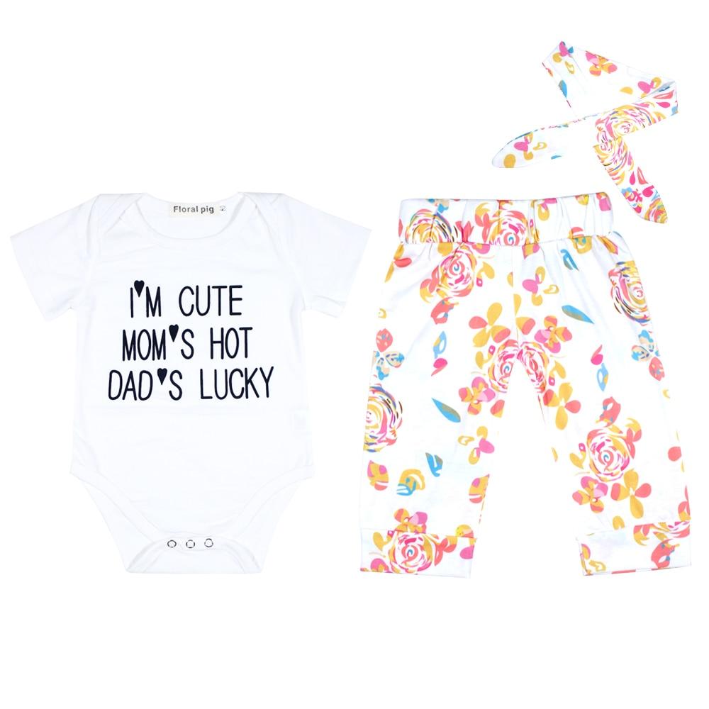 2017 pasgeboren baby meisje kleding brief print katoen romper - Babykleding