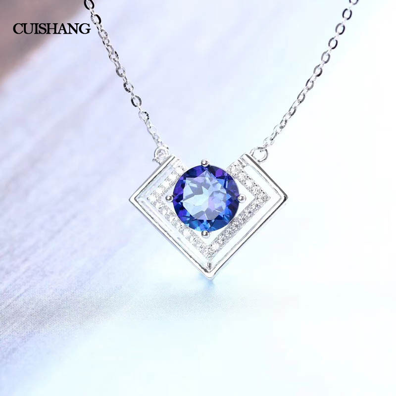 CSJ 925 silver sterling natural blue topaz pendants real gemstone fine jewelry best nice gift for women wife lady csj green agate pendants 925 sterling silver engagement necklace for women wedding party gift fine jewelry