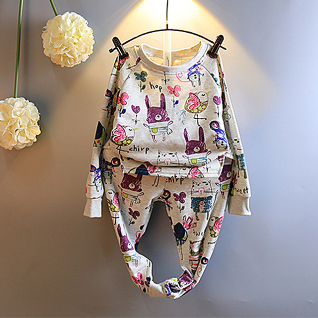 Baby Girl Autumn New Arrival Clothing Cartoon Printing Set Long Sleeve T-shirt Top+Full Length Pants Casual Design Kids Clothes