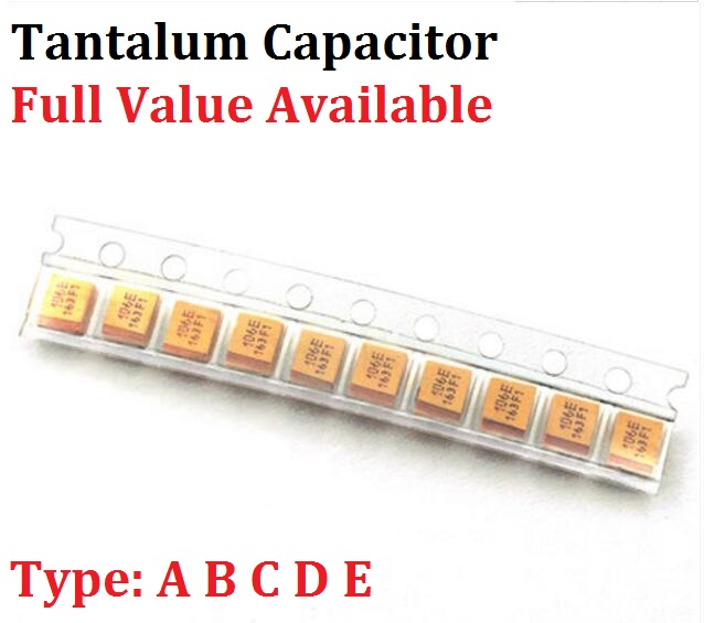 10PC Tantalum Capacitor Type D 2.5V 4V 6V 6.3V 10V 16V 25V 35V 50V 4.7/6.8/10/15/22/33/47UF 100UF 150UF 220UF 330UF 470UF 680UF