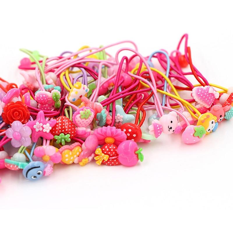 10 Pcs Candy Color Baby Headband Cute Cartoon Hair Ropes Girls Hair Accessories Children Elastic Hair Bands Elastic Hair Ropes