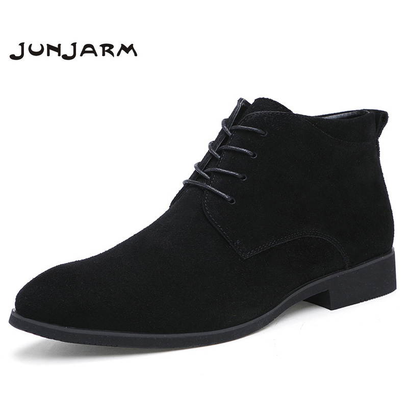 Junjarm Real Leather-based Males Ankle Boots Breathable Males Leather-based Boots Excessive Prime Footwear Outside Informal Males Winter Footwear Botas Homme