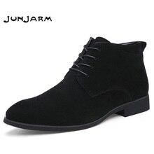 JUNJARM de cuero genuino de los hombres Botas de tobillo transpirable de cuero de los hombres Botas alta zapatos casuales al aire libre de los hombres de invierno zapatos Botas Homme