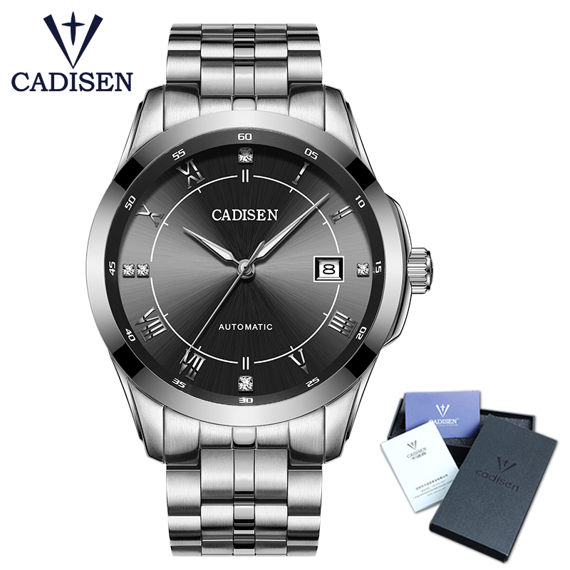 все цены на Hot Sale Cadisen Mens Watches Top Luxury Sapphire Glass 50M waterproof Automatic Mechanical Watch Men Business Role Style Watch в интернете