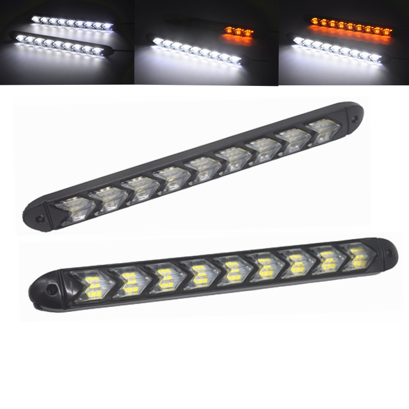 2pcs Led Drl Daytime Running Light Car Styling Dynamic Streamer Flow Amber Turn Signal Warning Steering Fog Day Lamp Sturdy Construction Car Light Assembly