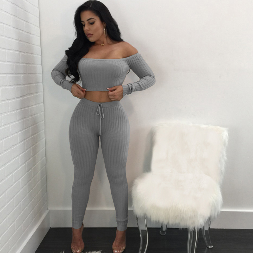 Autumn Off Shoulder Long Sleeve Women Jumpsuit Romper Sexy Solid 2 Piece Set Short Top Skinny Long Pants Casual Jumpsuits in Jumpsuits from Women 39 s Clothing