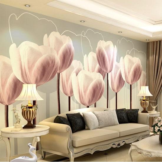 wholesale 3d papel de parede hd purple tulip flower mural 3d wall