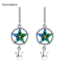 925 Sterling Silver Rainbow Color Stars Zircon Earrings Fashion Decoration Anniversary Gift SE30