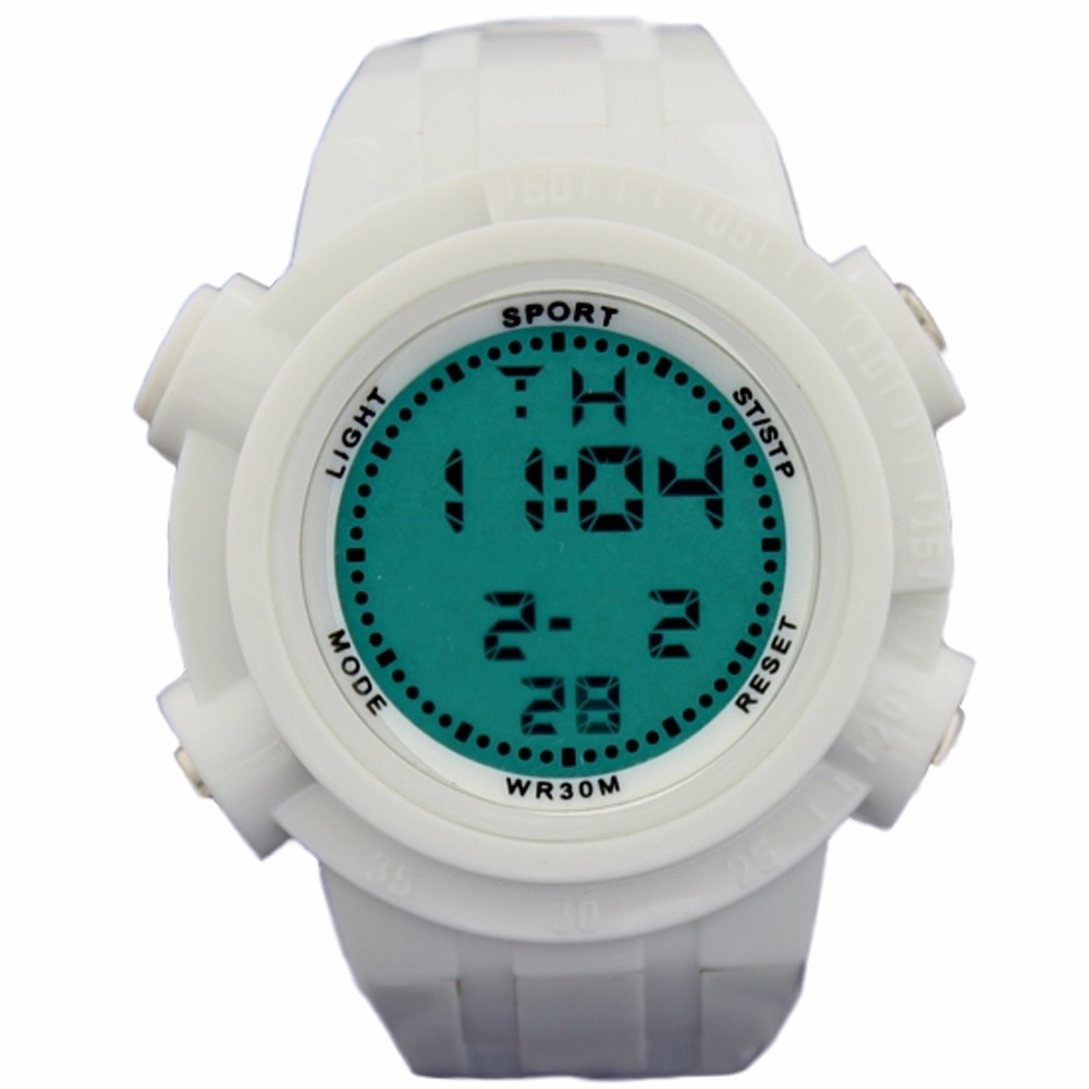 DW357B White Watchcase Chronograph BackLight White Bezel Men Women Digital Watch