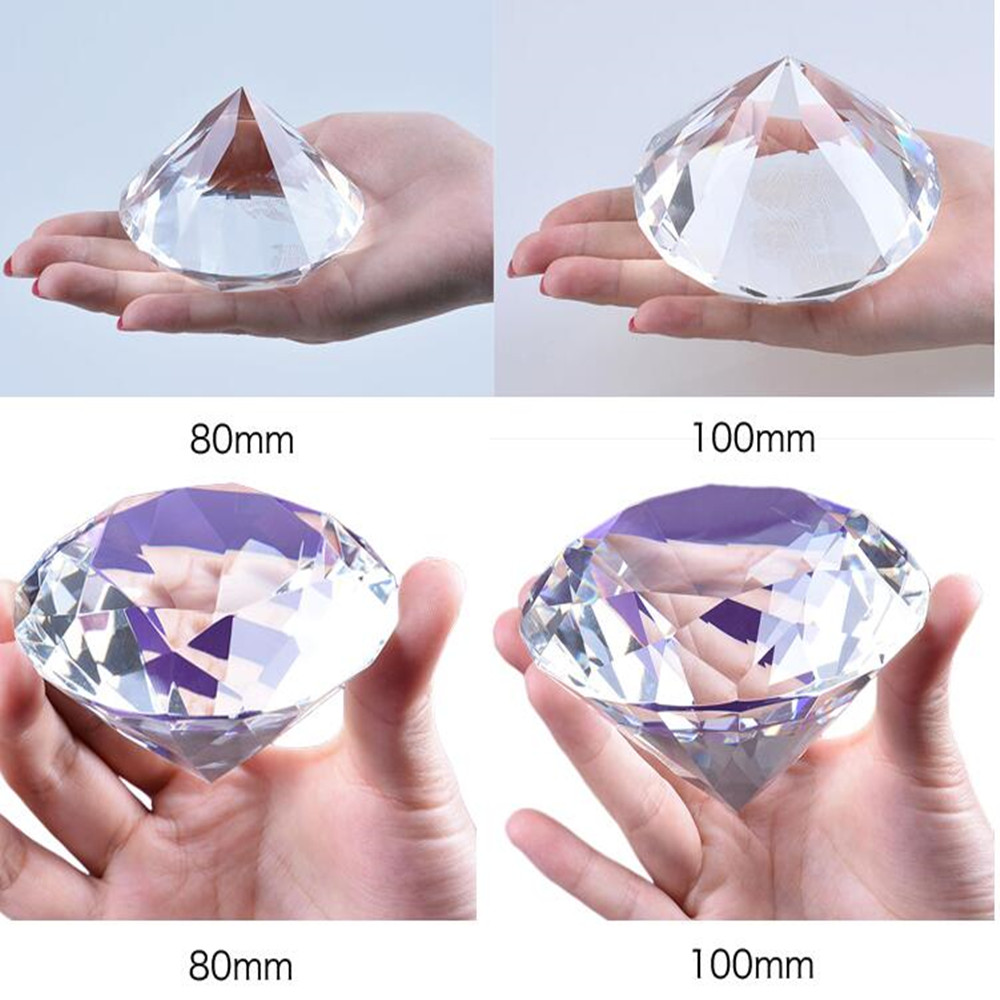 Exquisitel HBL 1pc 100mm Clear <font><b>Glass</b></font> Crystal Diamond Paperweight Cut Crafts Wedding Decoration Europe Style Ornaments
