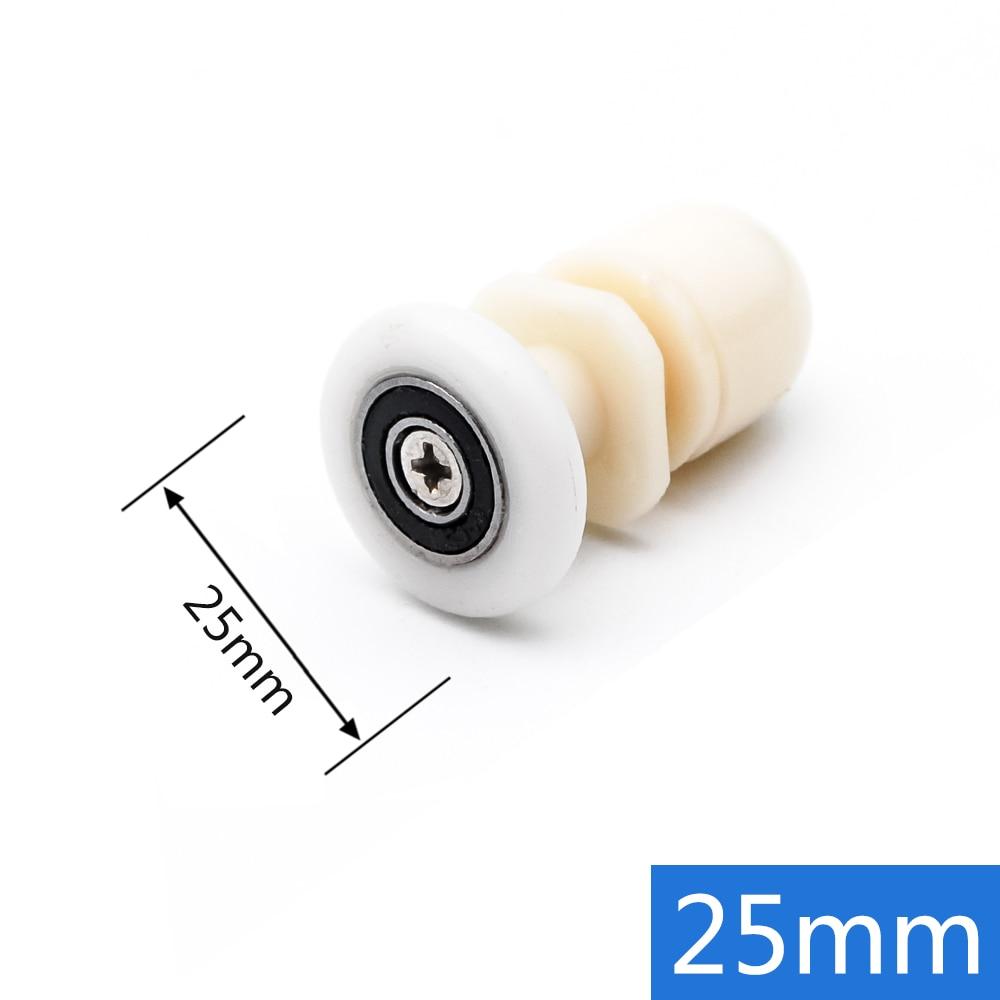 8pcs lot Diameter 19mm 27mm White Plastic Partiality Glass Sliding Door Wheels Runner For Shower Cabin Steam Room Bearing Roller in Door Rollers from Home Improvement
