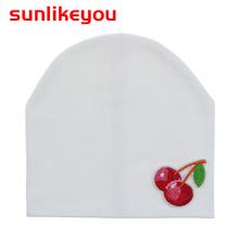 Sunlikeyou Baby Hat For Girl Kids Cap Baby Beanie Bonnet Newborn Child Cherry Embroidery Infant Cotton Soft Toddler Summer Hats newborn baby hat soft pure cotton infant bebe boy girl beanie hospital hat heart baby knitted bonnet cap