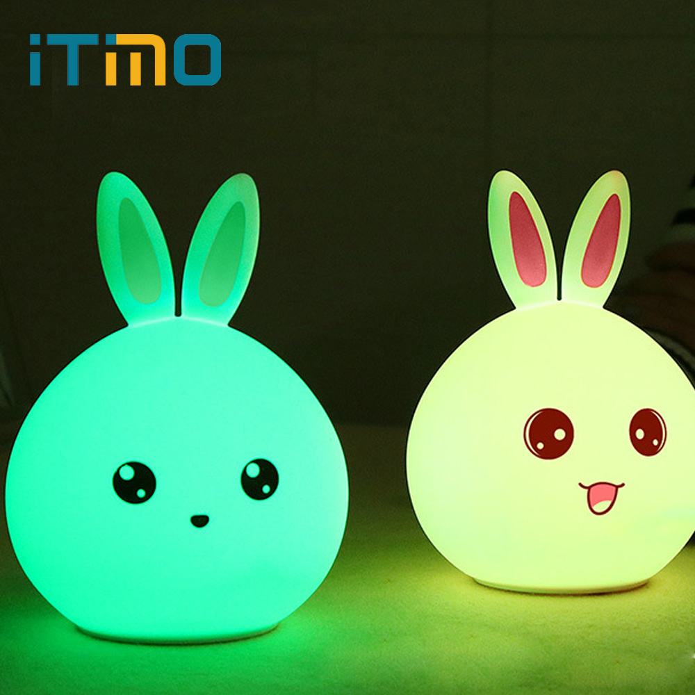 iTimo Tap Control LED Night Light For Children Baby Kids Rabbit Silicone Lamp New Style Nightlight Bedside Lamp Touch Sensor