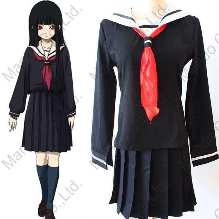 Anime HELL GIRL Enma Ai sexy Cosplay costume for women Uniform Japanese JK School sailor uniform fashion class top + dress 3pcs