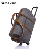 G FAVOR Brand Canvas Leather Men Travel Bags Carry on Luggage Bags Men Duffel Bags Travel Tote Large Weekend Bag Overnight