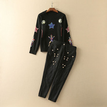 Pants Suits 2016 Autumn Classic Long Sleeve Luxury Sequined Black Soft Sweater + Ankle Length Warm Novelty Pants Sets