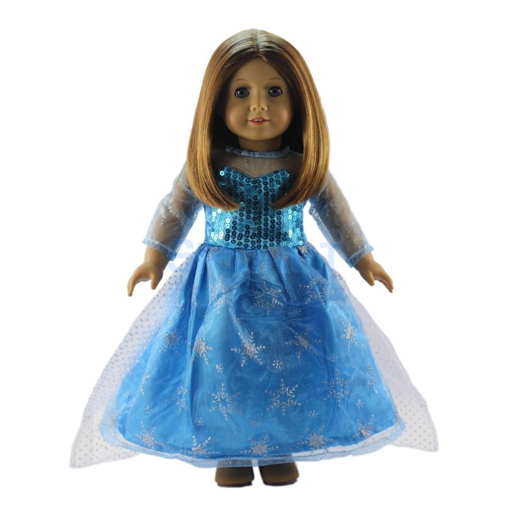 Online Shop Blue Sequined Party Dress Clothes for 18\'\' American Girl ...