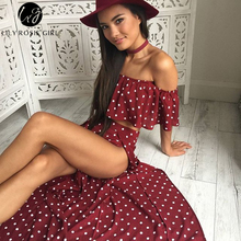 Lily Rosie Girl Women Off Shoulder Red Vintage Dot Long Dress Summer Maxi Dress Chiffon Ruffle Sexy Beach Dresses Vestidos