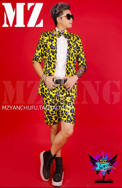 Men's Singer DJ Hip Hop Stage GD Yellow Blue Leopard Short Sleeve Slim Suit Dress Costume Jacket