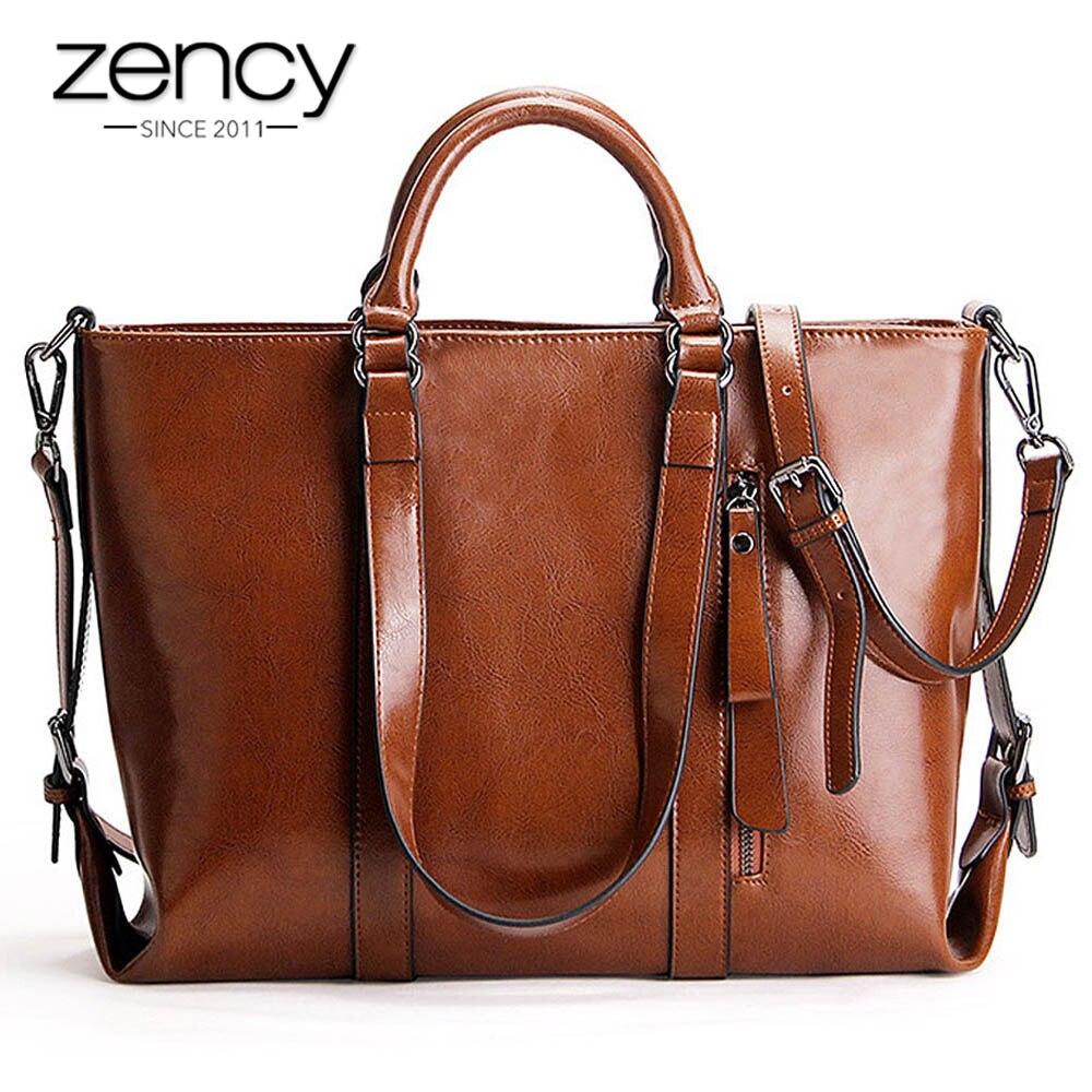 Zency Retro marrón mujer bolso de mano 100% cuero genuino Casual bolsa de compras de gran capacidad elegante bandolera-in Cubos from Maletas y bolsas    1