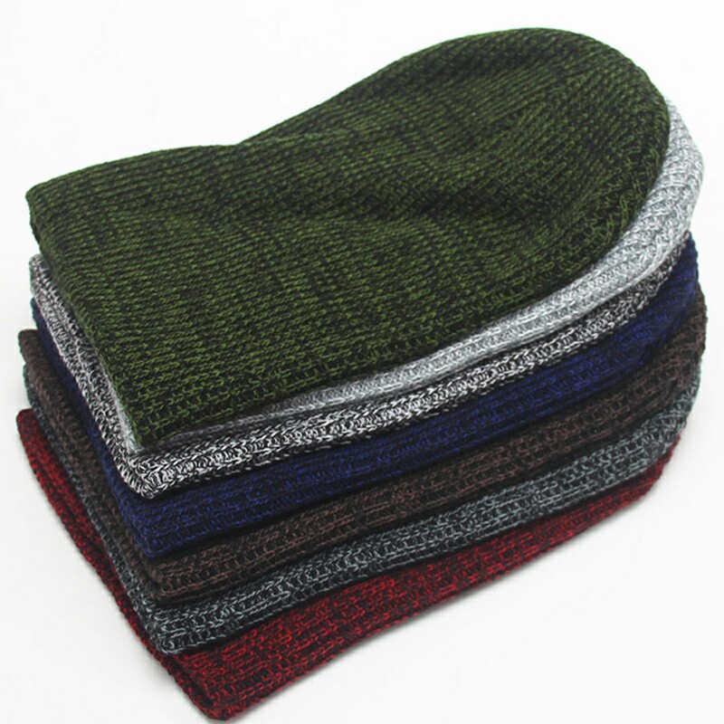 للجنسين بيني قبعات الشتاء قبعة الرجال بيني شريط محبوك الهيب هوب قبعة الذكور الإناث قبعة الشتاء الدافئة 14 ألوان النساء قبعة