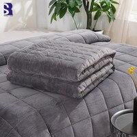 SunnyRain 1 Piece Velvet Duvet Cover For Weighted Blanket Thick Blanket Cover King Size Duvet Cover