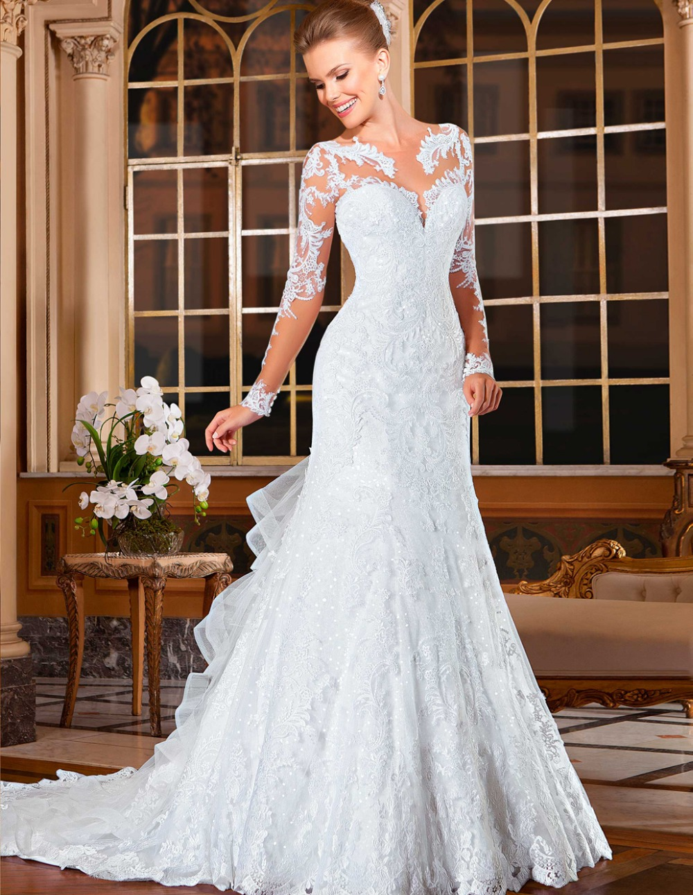 Attractive wedding gowns bridal dresses popular vintage for Wedding dresses with sleeves cheap
