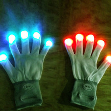 7 Mode Flashing Light Up Fingertip LED Gloves Mittens Rave Party Disco Gloves LH8s