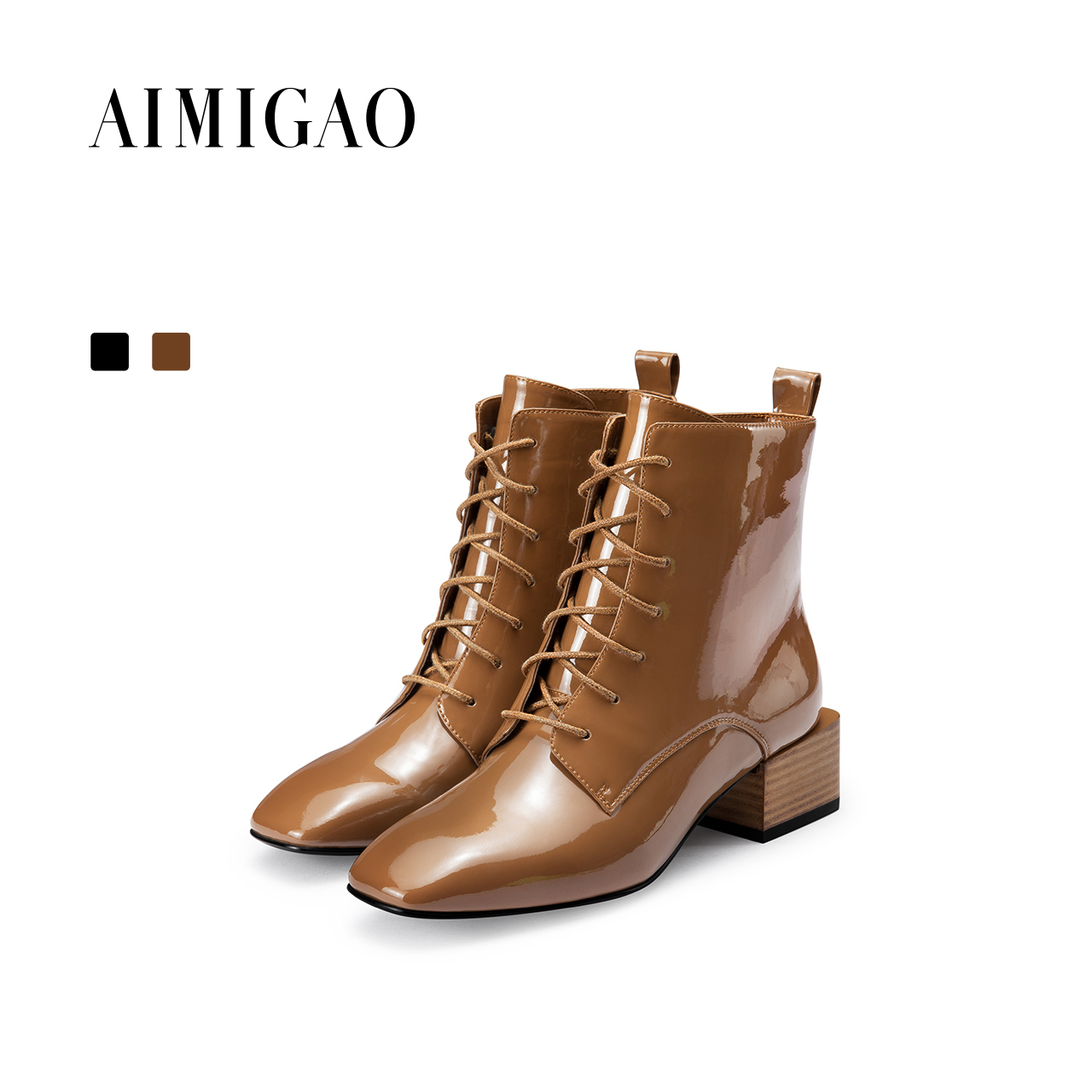 AIMIGAO Fashion Martin ankle boots 2017 autumn winter new Europe and the United States square toe block heel side zipper shoes 2017 newinferior smooth pointed high women s shoes with ankle boots fine low europe and the united states pointe
