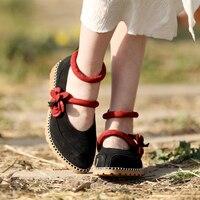 С круглым носком обувь на низком каблуке Для женщин повседневная обувь Mary Jane Винтаж Женская обувь с ремешком на лодыжке цветами ручной рабо