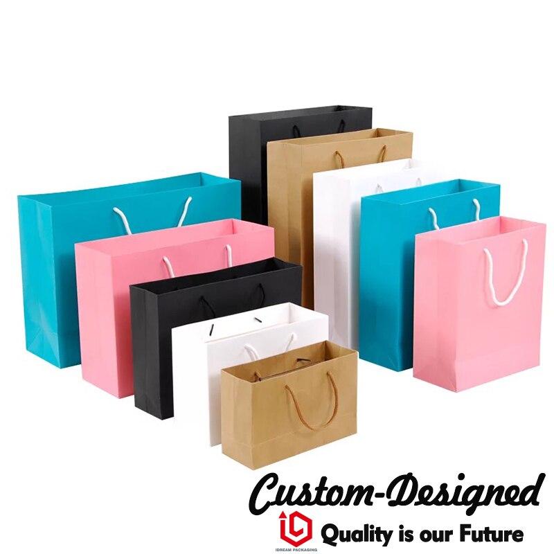 Sacs en papier de Shopping de cadeau de luxe imprimés par coutume à la mode avec votre propre Logo