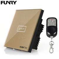 Funry UK Standard ST2 1Gang 170V 240V RF433MHz Wall Sensor Switch Touch Glass Switch Tempered Glass