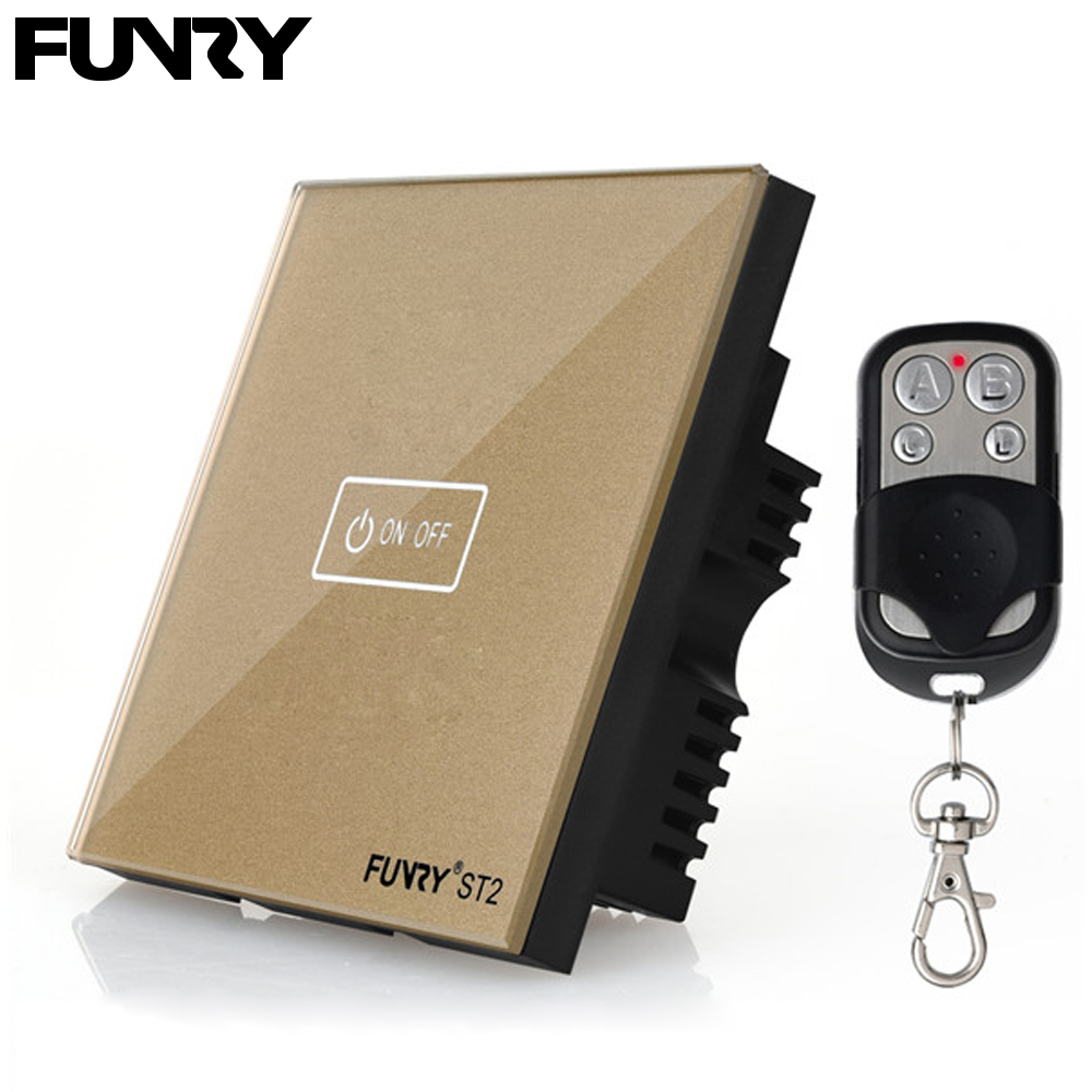 Funry UK Standard ST2 1Gang 170V-240V RF433MHz Wall Sensor Switch Touch Glass Switch Tempered Glass Sensor Surface Waterproof