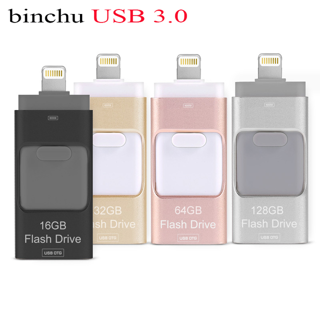 BINCHU Молния OTG USB Flash Drive 8 ГБ 16 ГБ 32 ГБ 64 ГБ 128 ГБ Для iOS и USB Для ПК Для Планшетных OTG Pendrive для iPhone U диск