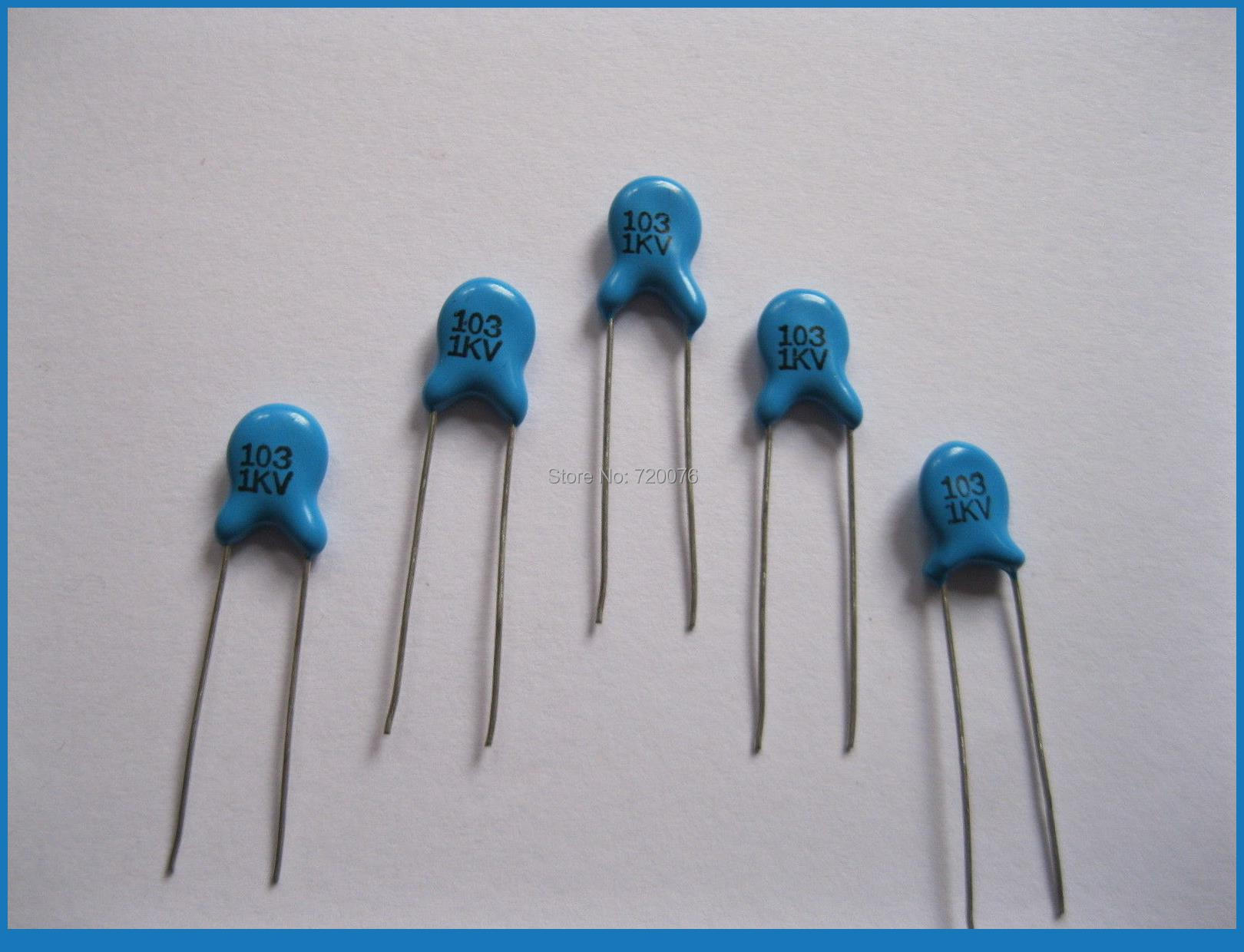 1000 pcs Ceramic Disc Capacitors 1000V 1KV 103pF 0.01uF 2 pin disc ceramic capacitor set blue 6 pcs