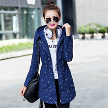 2017 New Fashion Print Women Trench Coat Medium Long Elegant Hooded Outwear Slim Waist Female Causal Windbreaker