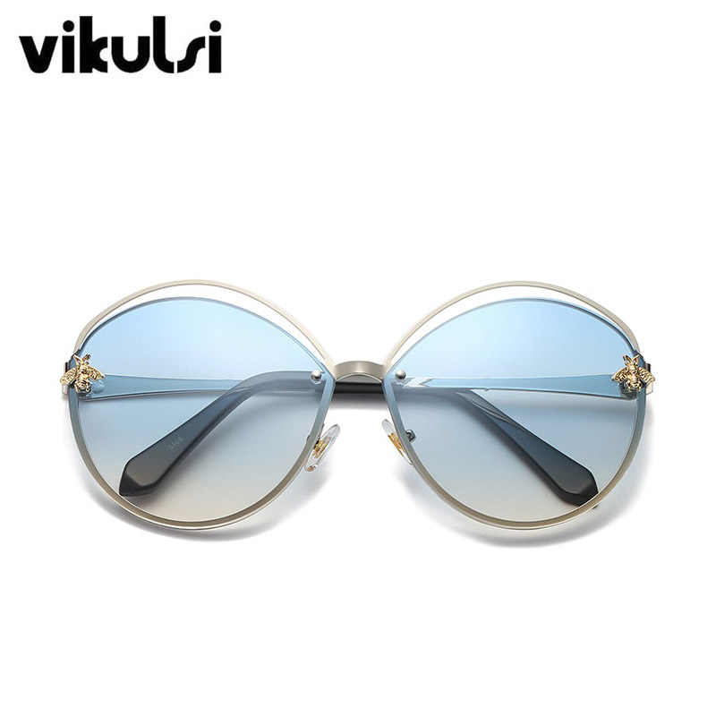 Retro Round Cat Eye Sunglasses Women Brand Designer Letters Bee Metal Frame Circle Hollow Sun Glasses Female UV400 Shades Oculos