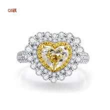 Sweet Heart Yellow AAA CZ Diamond Fashion 18K White Gold Plated Wedding Ring for Women Engagement Fine Jewelry Accessories Rings