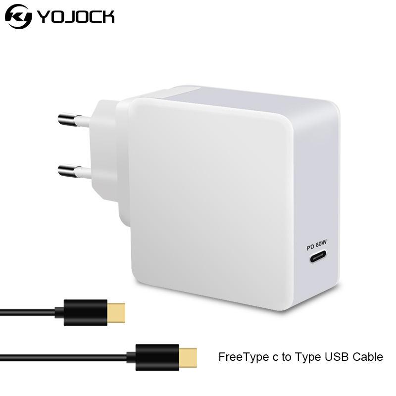 yojock usb type c pd charger power delivery 60w portable wall charger adapter for macbook pro. Black Bedroom Furniture Sets. Home Design Ideas