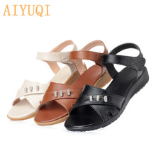 лучшая цена AIYUQI women flat sandals footwear women 2019 summer new female sandals microfiber leather,women sandals plus size mother shoes