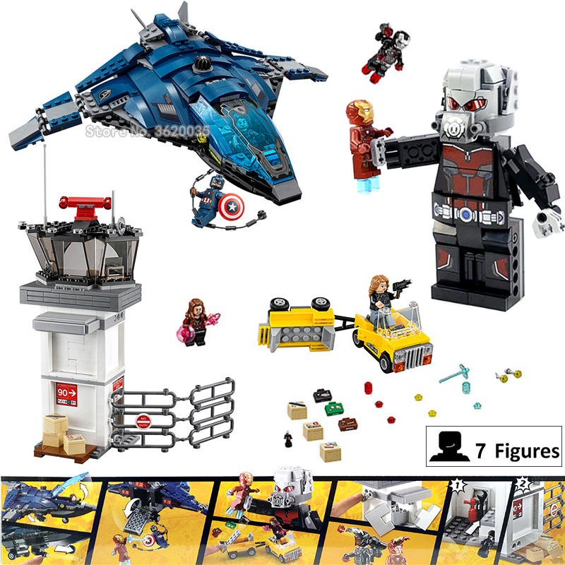 Super hero Building Blocks Airport Civil War Giant Ant Iron Man Compatible legoinglys MARVEL Figures mini Weapon Child gift hot compatible legoinglys batman marvel super hero movie series building blocks robin war chariot with figures brick toys gift