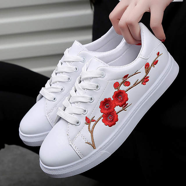 aae9606ec9f Online Shop women shoes 2018 new fashion PU Leather chinese traditional embroidery  leisure female Lace Up flower flat shoes woman sneakers