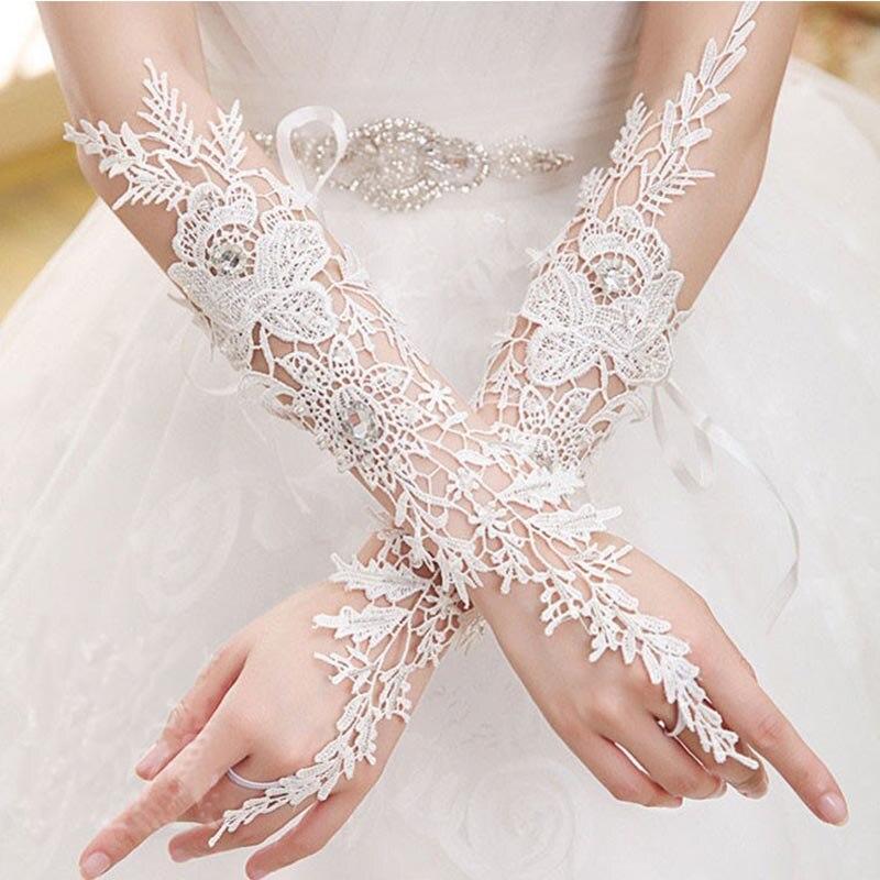 Elegant White Lace Long Bridal Gloves Crystal Fingerless Elbow Wedding Gloves For Bride Women Wedding Accessories JL