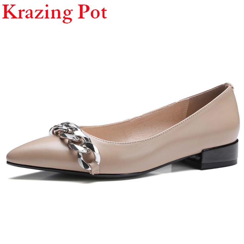 2017 Fashion Solid Cozy Slip on Shoes Sweet Pointed Toe Genuine Leather Loafers Metal Chains Women Flats Office Lady Shoes L38 women ladies flats vintage pu leather loafers pointed toe silver metal design