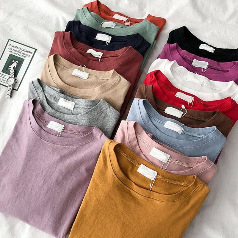 Dropship Women T Shirt 15 Solid Color Basic Cotton T-shirts Woman Casual O-neck Harajuku Summer Top Korean Hipster White T Shirt
