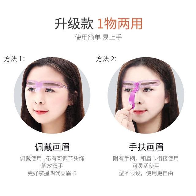 Reusable 8 in1 Eyebrow Shaping Template Helper Eyebrow Stencils Kit Grooming Card Eyebrow Defining Makeup Tools CE031 2